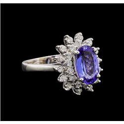 14KT White Gold 1.56 ctw Tanzanite and Diamond Ring