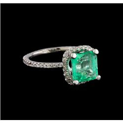 3.32 ctw Emerald and Diamond Ring - 14KT White Gold