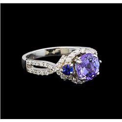 14KT White Gold 1.92 ctw Tanzanite, Sapphire and Diamond Ring