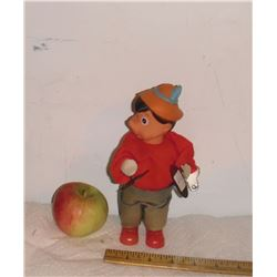 PLAYS as you want Rare original clothes old Pinocchio soft  toy plays cymbals with key U move head