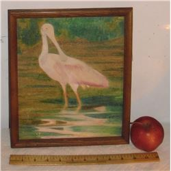 Bird primitive original old painting by - Dave Train - vieille peinture originale