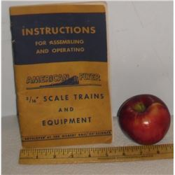 1949Instructions Scale Trains for toy trains 3/16 American Flyer- informations sur les trains jouets