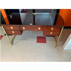 Glass Topped Figured maple and Brass Desk