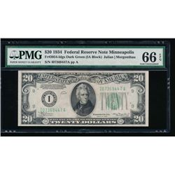 1934 $20 Minneapolis Federal Reserve Note PMG 66EPQ