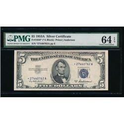 1953A $5 Silver Certificate STAR PMG 64EPQ
