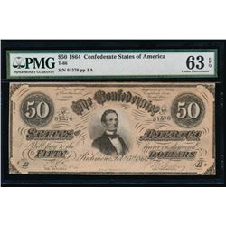 1864 $50 Confederate States of America Note PMG 63EPQ
