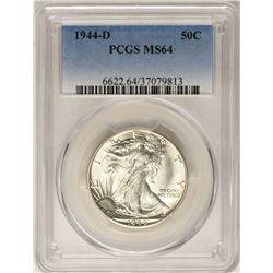 1944-D Walking Liberty Half Dollar Coin PCGS MS64