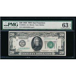 1928 $20 San Francisco Federal Reserve Note PMG 63EPQ