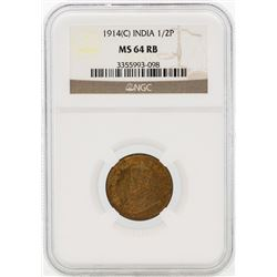 1914 India 1/2 Pice Coin NGC MS64RB