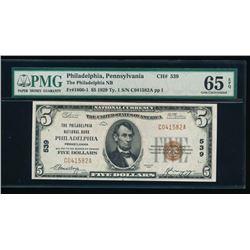 1929 $5 Philadelphia National Bank Note PMG 65EPQ
