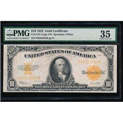 1922 $10 Gold Certificate PMG 35