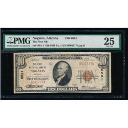 1929 $10 Nogales National Bank Note PMG 25