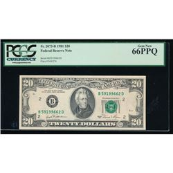 1981 $20 New York Federal Reserve Note PCGS 66PPQ