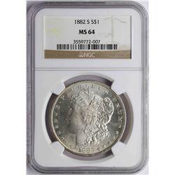 1882-S $1 Morgan Silver Dollar Coin NGC MS64