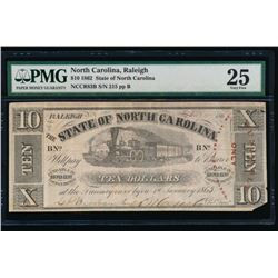 1862 $10 Raleigh NC Obsolete Note PMG 25