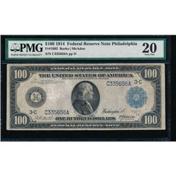 1914 $100 Philadelphia Federal Reserve Note PMG 20