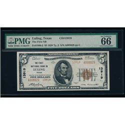 1929 $5 Luling National Bank Note PMG 66EPQ