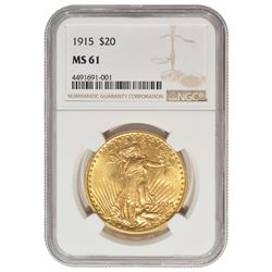 1915 $20 St Gaudens Double Eagle Gold Coin PCGS MS61