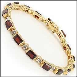 Plated 18KT Yellow Gold 12.29ctw Garnet and Diamond Bracelet