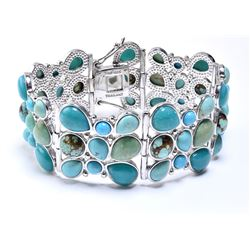 Silver Multi Turquoise Three Row Bracelet 7.2""