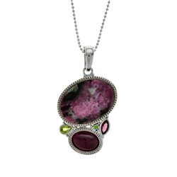 Silver Ruby in Zoisite & Multi Gemstone Pendant