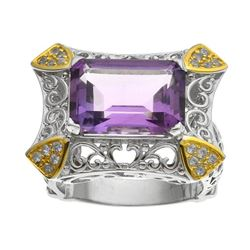 Silver 6.83ct Amethyst & Zircon Filigree Ring-SZ 7