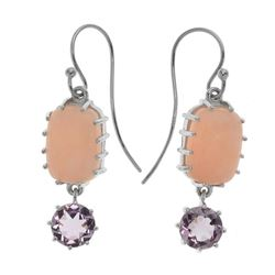 Silver 3.34ct Pink Amethyst & Opal Drop Earrings