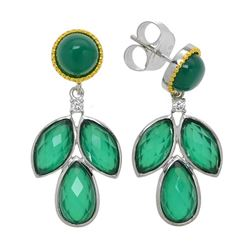 Silver Green Agate Doublet Leaf Drop Earring