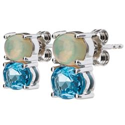 Silver 2.86ct Blue Topaz & Opal Stud Earrings