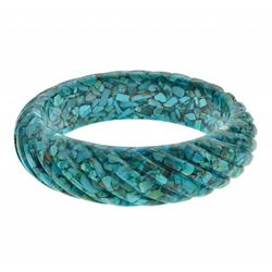 Chip Shaped Turquoise Rope Textured Bangle 7.5""