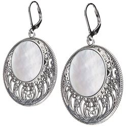 Sterling silver White MOP Openwork Disc Earrings