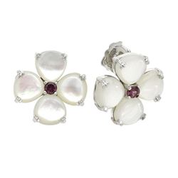 Silver White MOP & Garnet Flower Stud Earrings
