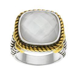 Silver White MOP Clear Quartz Doublet Ring-SZ 6