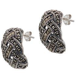 Silver Basketweave Marcasite Half Hoop Earrings
