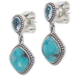 Silver Turquoise & Topaz Beaded Drop Earrings
