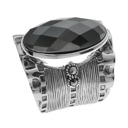 Sterling Silver Hematite & Marcasite Ring-SZ 7