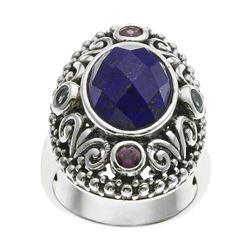 Sterling Silver Lapis & Gemstone Bali Ring-SZ 8