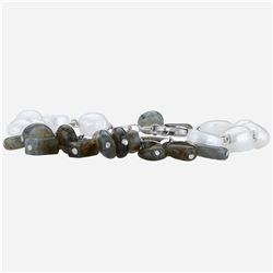 "Silver Labradorite & Pearl Beaded Bracelet 8"""