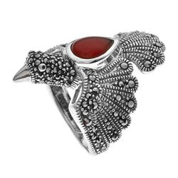 Silver Red Agate & Marcasite Eagle Ring-SZ 8