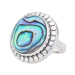 Sterling Silver 18mm Abalone Beaded Halo Ring-SZ 9