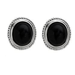 Silver Velvet Obsidian Rope Textured Stud Earrings