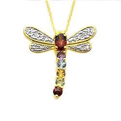 18K Gold Plated Multi-gemstone Dragonfly Pendant