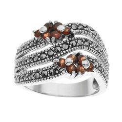 Silver Garnet & Marcasite Floral Ring-SZ 8