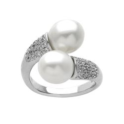 Sterling Silver Freshwater Pearl Bypass Ring-SZ 5