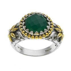 Silver Green Agate Hammered Flower Ring-SZ 7