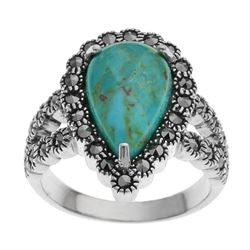 Sterling Silver Turquoise & Marcasite Ring-SZ 7