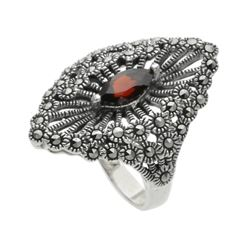 Sterling Silver Marcasite & Garnet Shield Ring-SZ6