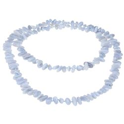 """Blue Lace Agate Hand-Knotted Beaded Necklace 45"""""""