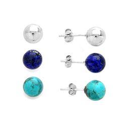 Set of 8mm Round Stud Earrings