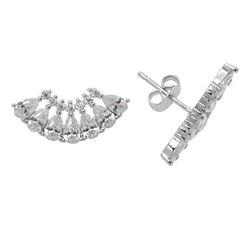 Silver Tone CZ Wings Stud Earrings